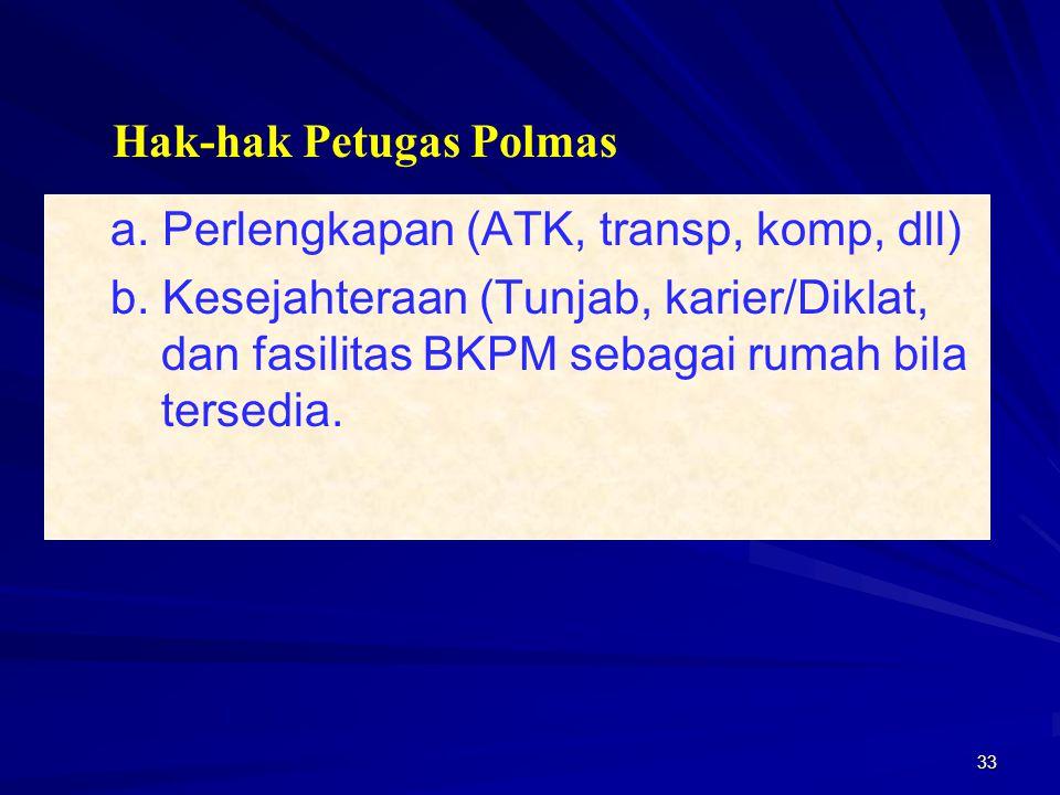 33 a. Perlengkapan (ATK, transp, komp, dll) b. Kesejahteraan (Tunjab, karier/Diklat, dan fasilitas BKPM sebagai rumah bila tersedia. Hak-hak Petugas P