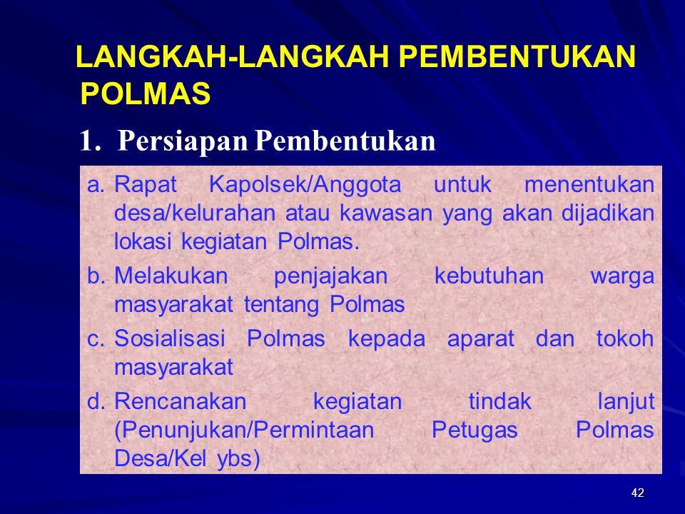 42 a.Rapat Kapolsek/Anggota untuk menentukan desa/kelurahan atau kawasan yang akan dijadikan lokasi kegiatan Polmas. b.Melakukan penjajakan kebutuhan