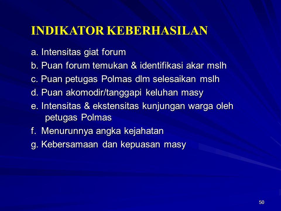 50 INDIKATOR KEBERHASILAN a. Intensitas giat forum b. Puan forum temukan & identifikasi akar mslh c. Puan petugas Polmas dlm selesaikan mslh d. Puan a