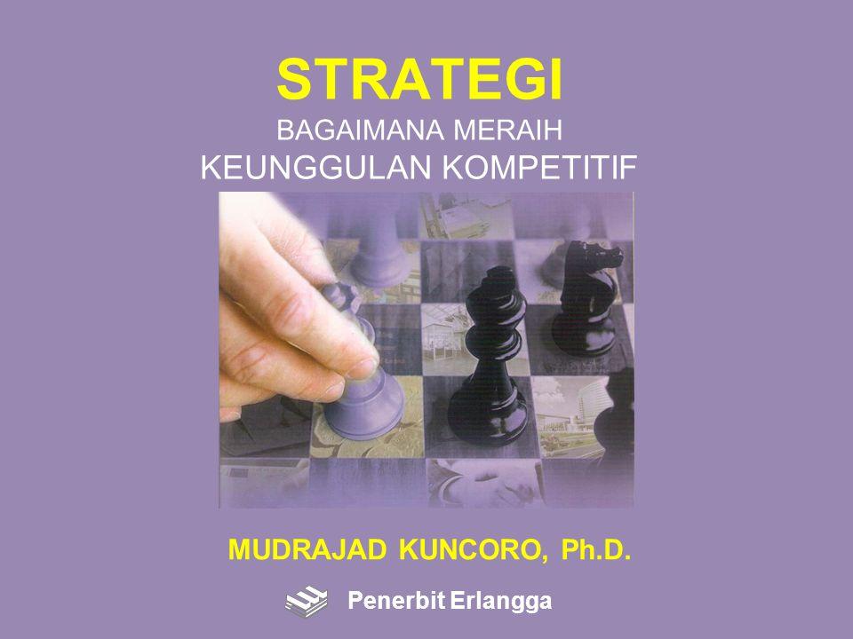 STRATEGI PERTUMBUHAN: Integrasi Vertikal Strategi integrasi vertikal: Usaha perusahaan untuk memperoleh kendali terhadap inputnya (backward), terhadap outputnya (forward), atau keduanya (+) Mengurangi biaya penjualan dan pembelian, memperbaiki koordinasi antar fungsi dan kapabilitas, melindungi hak kepemilikan terhadap teknologi (-) Mengurangi fleksibilitas, kesulitan dalam mengintegrasikan bermacam operasi, beban finansial ketika memulai usaha atau akuisisi Penerbit Erlangga