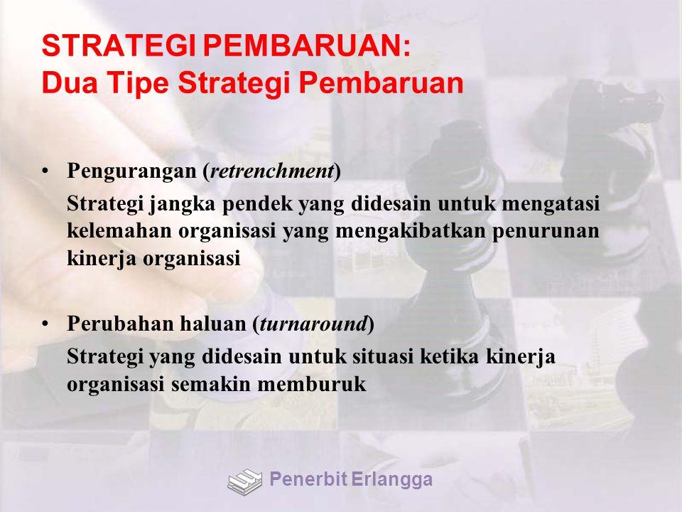 STRATEGI PEMBARUAN: Dua Tipe Strategi Pembaruan Pengurangan (retrenchment) Strategi jangka pendek yang didesain untuk mengatasi kelemahan organisasi yang mengakibatkan penurunan kinerja organisasi Perubahan haluan (turnaround) Strategi yang didesain untuk situasi ketika kinerja organisasi semakin memburuk Penerbit Erlangga