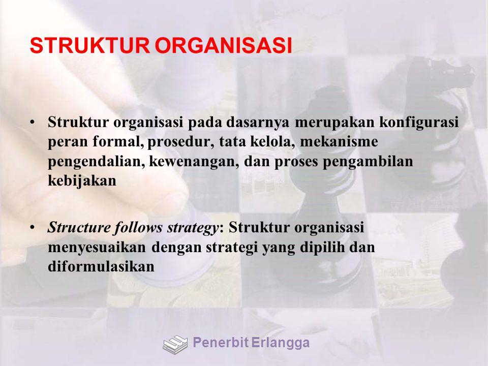 STRUKTUR ORGANISASI Struktur organisasi pada dasarnya merupakan konfigurasi peran formal, prosedur, tata kelola, mekanisme pengendalian, kewenangan, dan proses pengambilan kebijakan Structure follows strategy: Struktur organisasi menyesuaikan dengan strategi yang dipilih dan diformulasikan Penerbit Erlangga