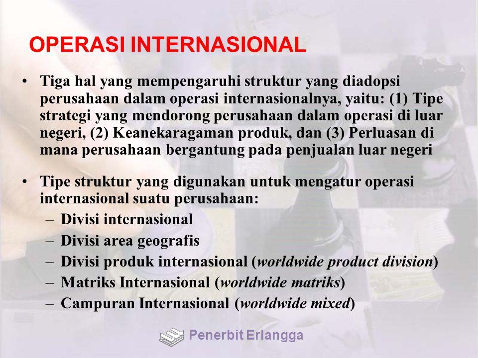 OPERASI INTERNASIONAL Tiga hal yang mempengaruhi struktur yang diadopsi perusahaan dalam operasi internasionalnya, yaitu: (1) Tipe strategi yang mendorong perusahaan dalam operasi di luar negeri, (2) Keanekaragaman produk, dan (3) Perluasan di mana perusahaan bergantung pada penjualan luar negeri Tipe struktur yang digunakan untuk mengatur operasi internasional suatu perusahaan: –Divisi internasional –Divisi area geografis –Divisi produk internasional (worldwide product division) –Matriks Internasional (worldwide matriks) –Campuran Internasional (worldwide mixed) Penerbit Erlangga