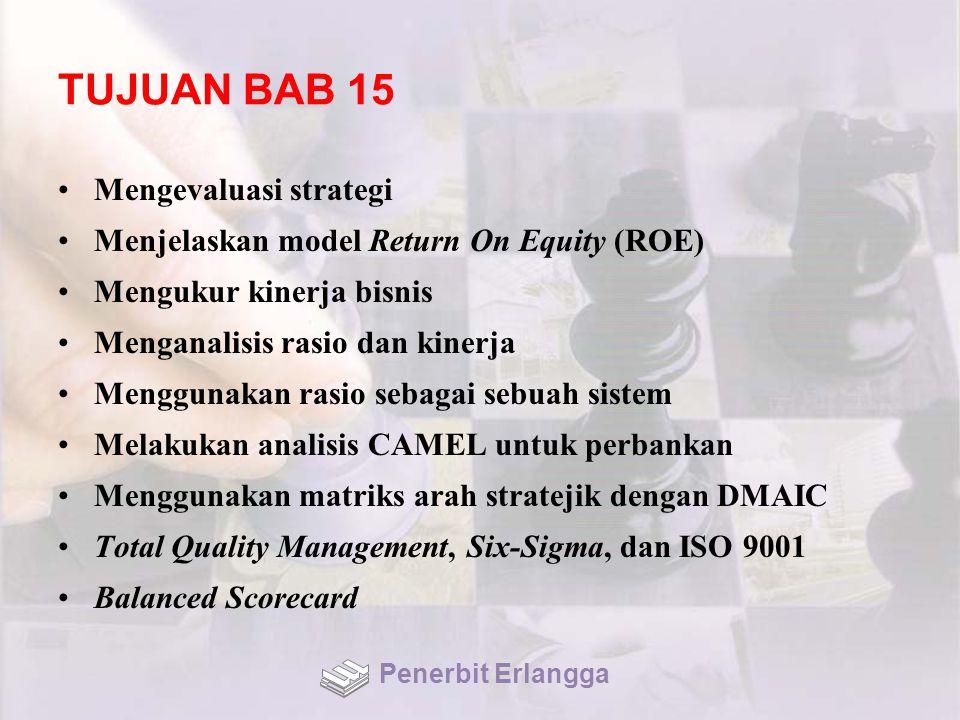 TUJUAN BAB 15 Mengevaluasi strategi Menjelaskan model Return On Equity (ROE) Mengukur kinerja bisnis Menganalisis rasio dan kinerja Menggunakan rasio sebagai sebuah sistem Melakukan analisis CAMEL untuk perbankan Menggunakan matriks arah stratejik dengan DMAIC Total Quality Management, Six-Sigma, dan ISO 9001 Balanced Scorecard Penerbit Erlangga
