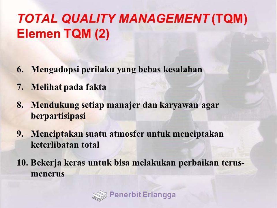 TOTAL QUALITY MANAGEMENT (TQM) Elemen TQM (2) 6.Mengadopsi perilaku yang bebas kesalahan 7.Melihat pada fakta 8.Mendukung setiap manajer dan karyawan agar berpartisipasi 9.Menciptakan suatu atmosfer untuk menciptakan keterlibatan total 10.