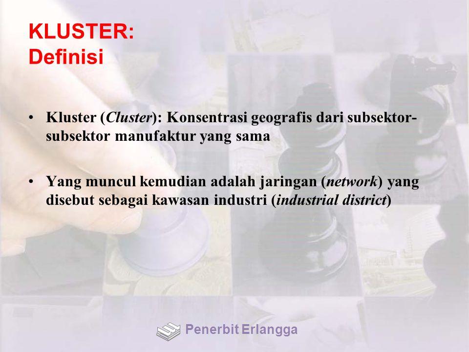 KLUSTER: Definisi Kluster (Cluster): Konsentrasi geografis dari subsektor- subsektor manufaktur yang sama Yang muncul kemudian adalah jaringan (network) yang disebut sebagai kawasan industri (industrial district) Penerbit Erlangga