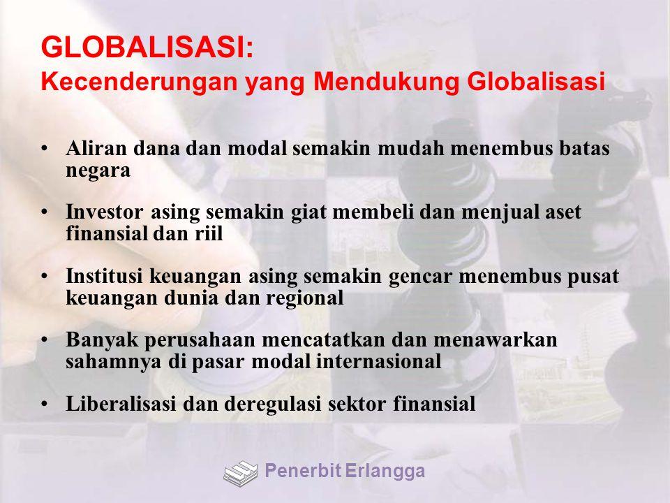 GLOBALISASI: Dimensi Globalisasi Terjadinya pergeseran kekuatan ekonomi global memunculkan tiga megamarkets ekonomi dunia, yaitu MEE, Amerika Utara, dan Asia Timur & Tenggara Globalisasi investasi mendorong tumbuh dan menyebarnya perusahaan transnasional (TNC) Penerbit Erlangga