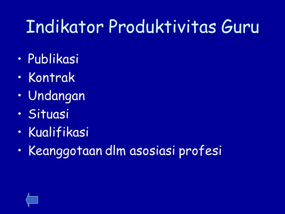 Indikator Produktivitas Guru Publikasi Kontrak Undangan Situasi Kualifikasi Keanggotaan dlm asosiasi profesi