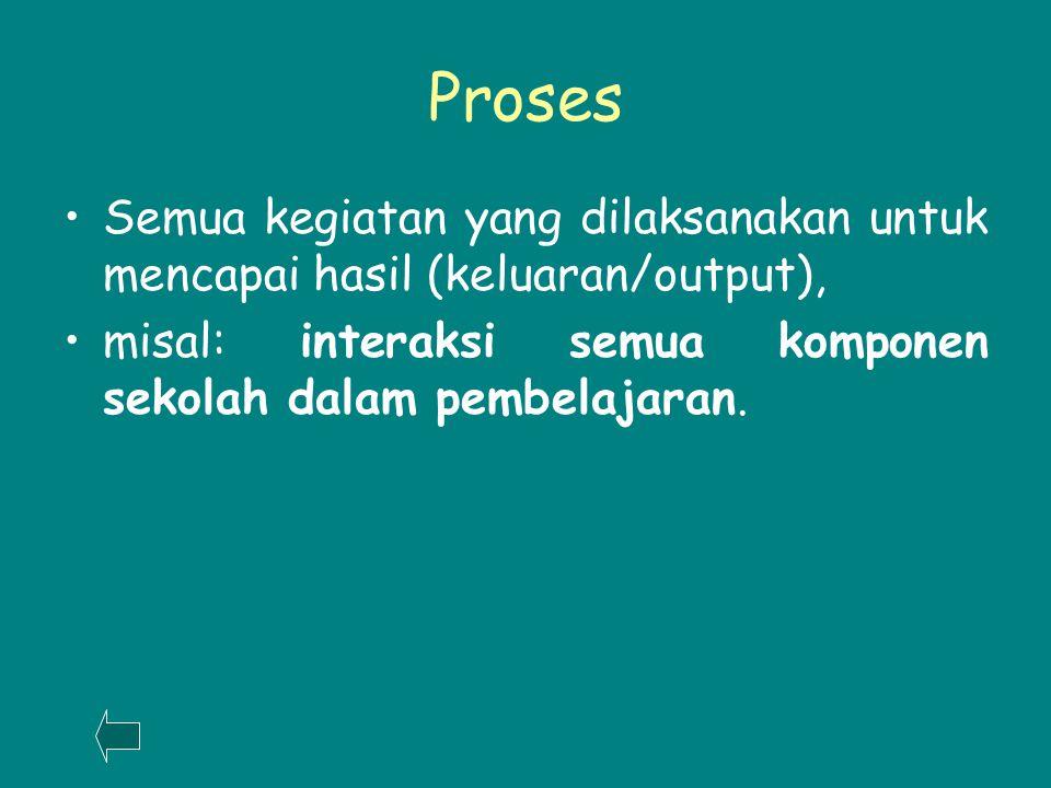 Proses Semua kegiatan yang dilaksanakan untuk mencapai hasil (keluaran/output), misal: interaksi semua komponen sekolah dalam pembelajaran.