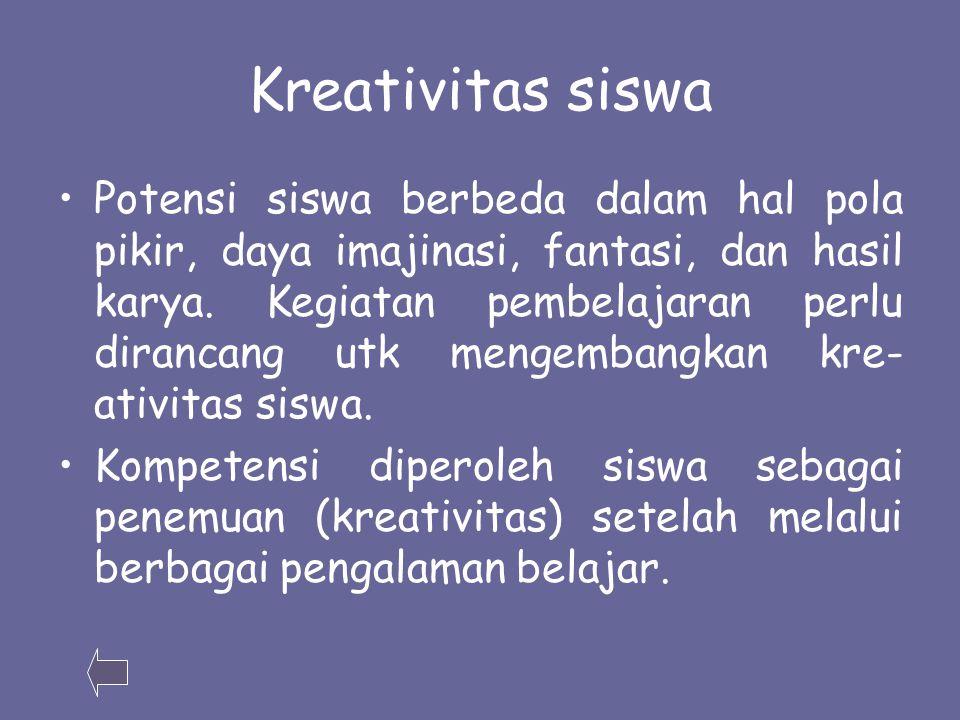 Kreativitas siswa Potensi siswa berbeda dalam hal pola pikir, daya imajinasi, fantasi, dan hasil karya.