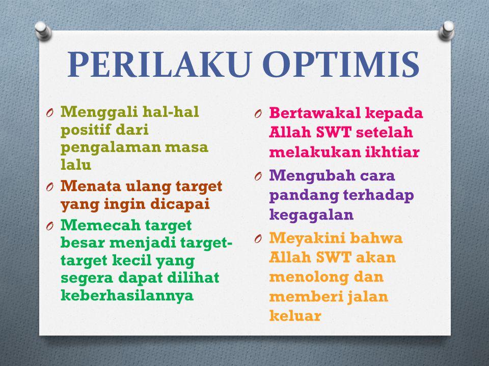 PERILAKU OPTIMIS O Menggali hal-hal positif dari pengalaman masa lalu O Menata ulang target yang ingin dicapai O Memecah target besar menjadi target-