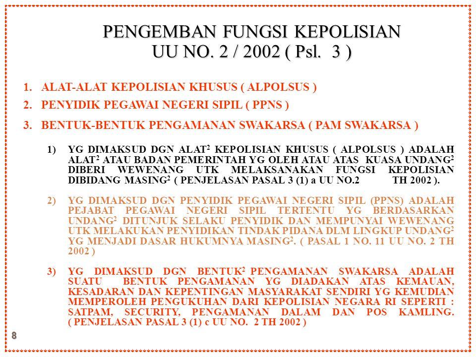 8 PENGEMBAN FUNGSI KEPOLISIAN UU NO. 2 / 2002 ( Psl. 3 ) 1. 1.ALAT-ALAT KEPOLISIAN KHUSUS ( ALPOLSUS ) 2. 2.PENYIDIK PEGAWAI NEGERI SIPIL ( PPNS ) 3.