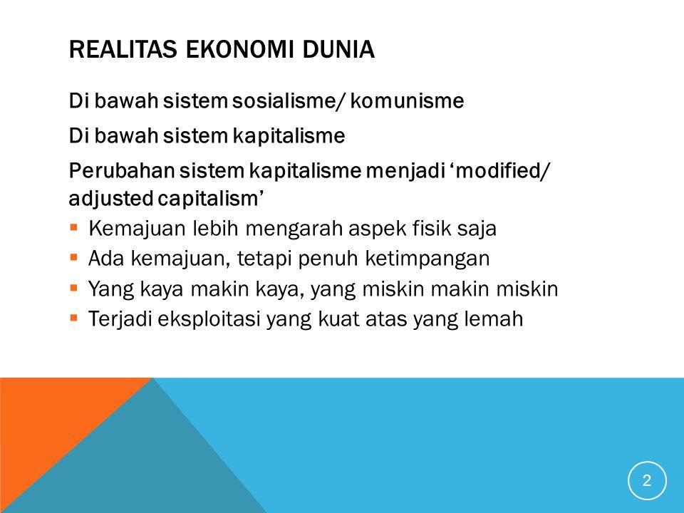 EKONOMI KONVENSIONAL GAGAL MENGANTARKAN : Keadilan Kemakmuran Kesejahteraan Memerangi kemiskinan Dll.