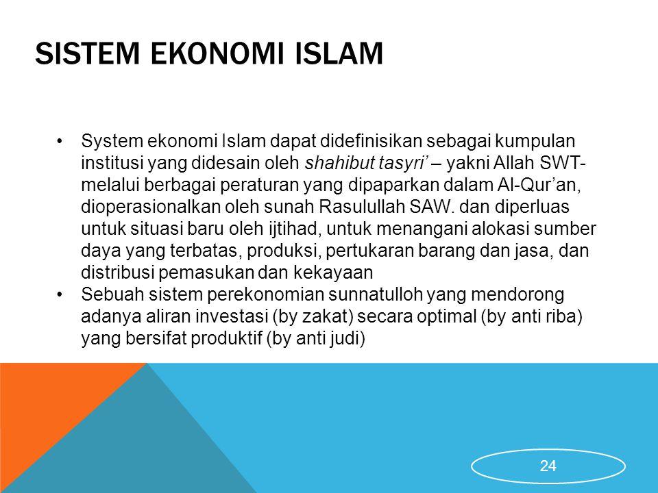 SISTEM EKONOMI ISLAM System ekonomi Islam dapat didefinisikan sebagai kumpulan institusi yang didesain oleh shahibut tasyri' – yakni Allah SWT- melalu