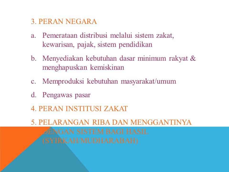 3. PERAN NEGARA a.Pemerataan distribusi melalui sistem zakat, kewarisan, pajak, sistem pendidikan b.Menyediakan kebutuhan dasar minimum rakyat & mengh