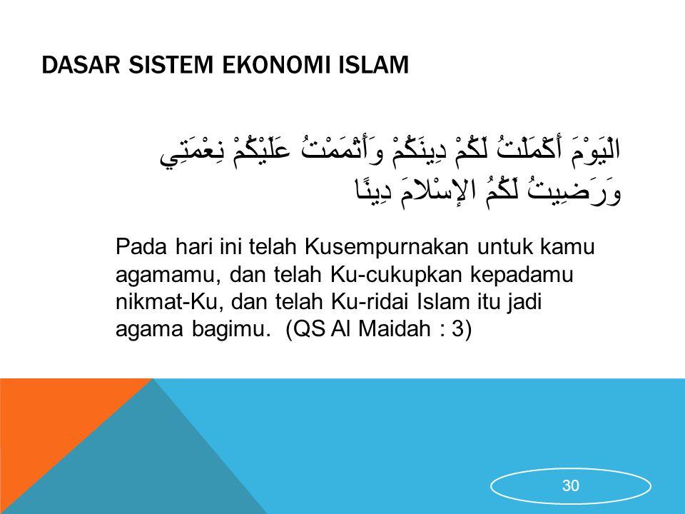 DASAR SISTEM EKONOMI ISLAM Pada hari ini telah Kusempurnakan untuk kamu agamamu, dan telah Ku-cukupkan kepadamu nikmat-Ku, dan telah Ku-ridai Islam it