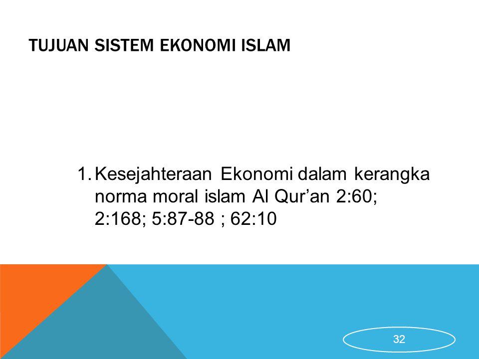 TUJUAN SISTEM EKONOMI ISLAM 1.Kesejahteraan Ekonomi dalam kerangka norma moral islam Al Qur'an 2:60; 2:168; 5:87-88 ; 62:10 32