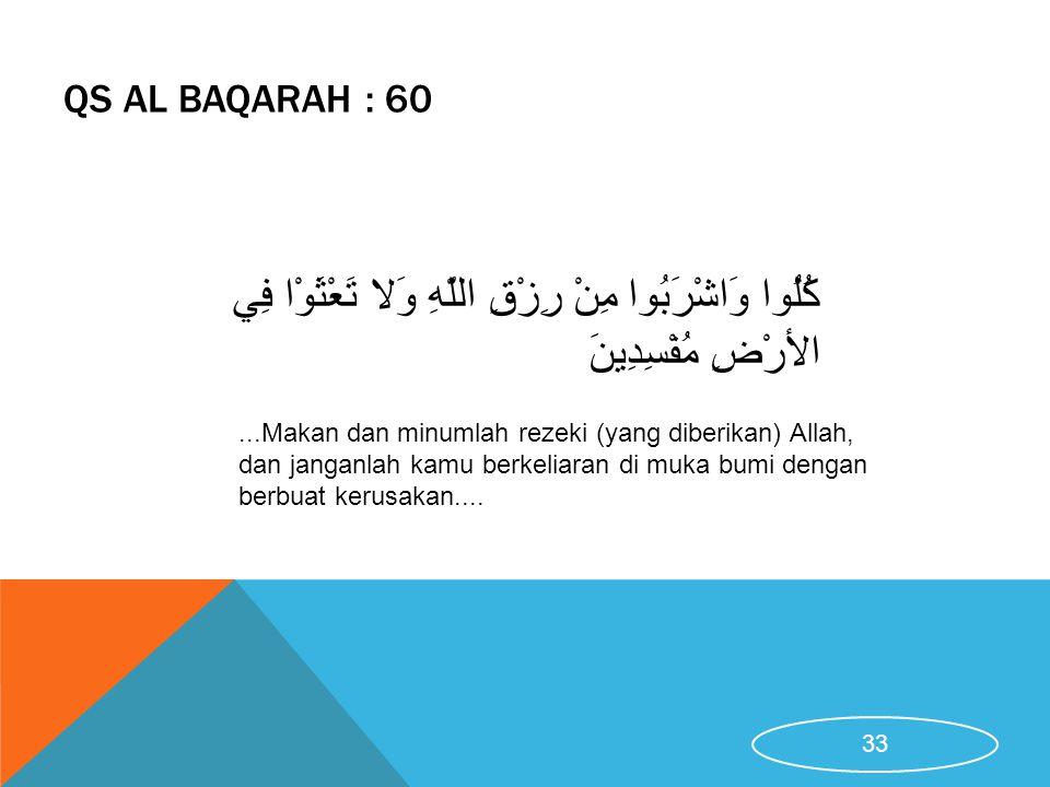 QS AL BAQARAH : 60...Makan dan minumlah rezeki (yang diberikan) Allah, dan janganlah kamu berkeliaran di muka bumi dengan berbuat kerusakan.... كُلُوا