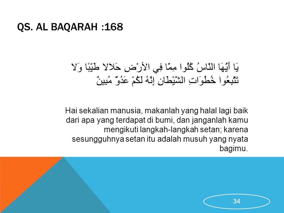 QS. AL BAQARAH :168 Hai sekalian manusia, makanlah yang halal lagi baik dari apa yang terdapat di bumi, dan janganlah kamu mengikuti langkah-langkah s