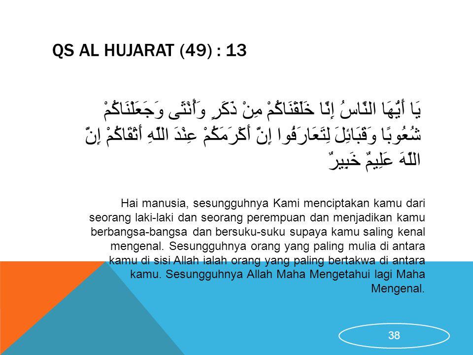 QS AL HUJARAT (49) : 13 Hai manusia, sesungguhnya Kami menciptakan kamu dari seorang laki-laki dan seorang perempuan dan menjadikan kamu berbangsa-ban
