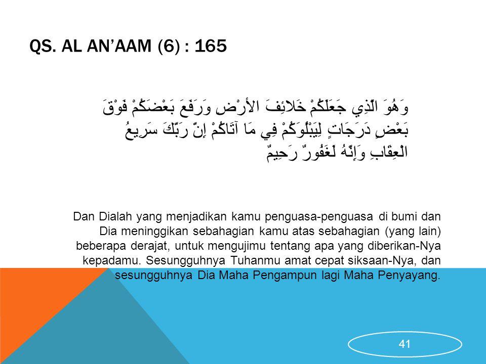 QS. AL AN'AAM (6) : 165 Dan Dialah yang menjadikan kamu penguasa-penguasa di bumi dan Dia meninggikan sebahagian kamu atas sebahagian (yang lain) bebe