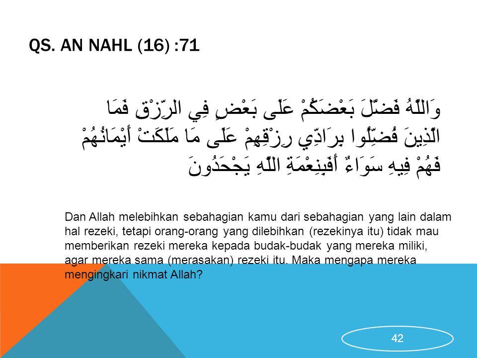 QS. AN NAHL (16) :71 Dan Allah melebihkan sebahagian kamu dari sebahagian yang lain dalam hal rezeki, tetapi orang-orang yang dilebihkan (rezekinya it