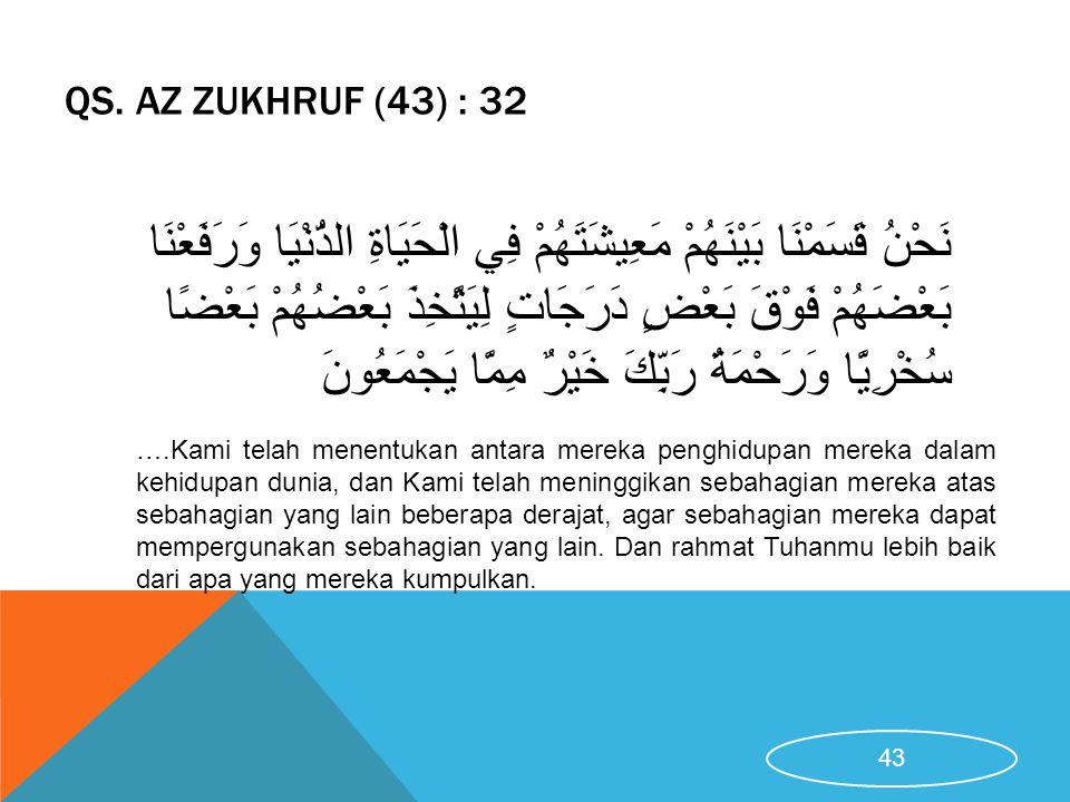 QS. AZ ZUKHRUF (43) : 32 ….Kami telah menentukan antara mereka penghidupan mereka dalam kehidupan dunia, dan Kami telah meninggikan sebahagian mereka