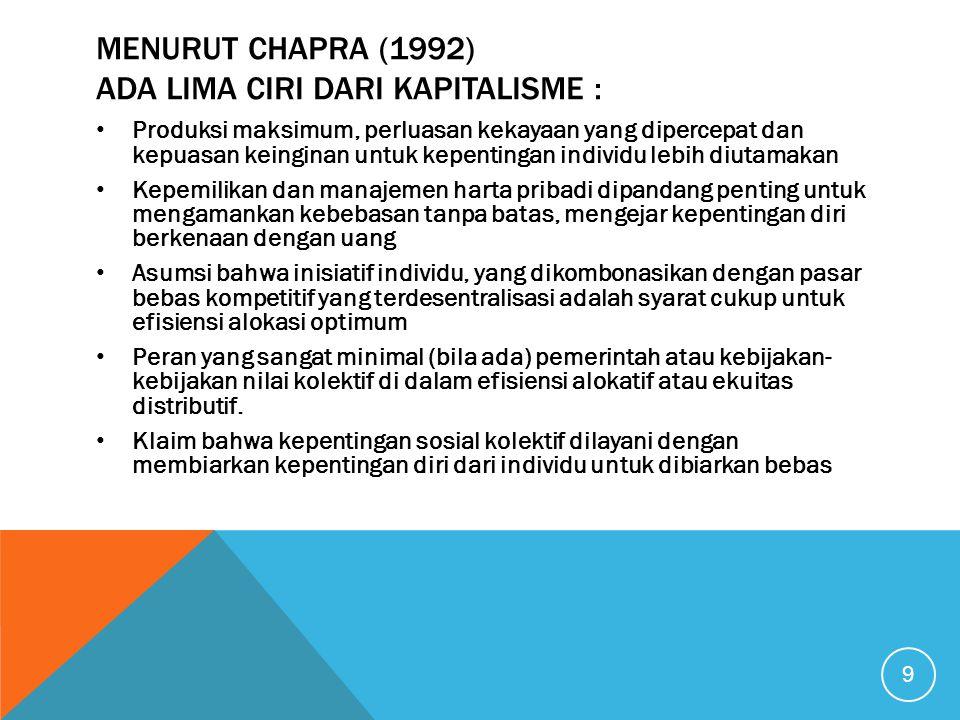 MENURUT CHAPRA (1992) ADA LIMA CIRI DARI KAPITALISME : Produksi maksimum, perluasan kekayaan yang dipercepat dan kepuasan keinginan untuk kepentingan