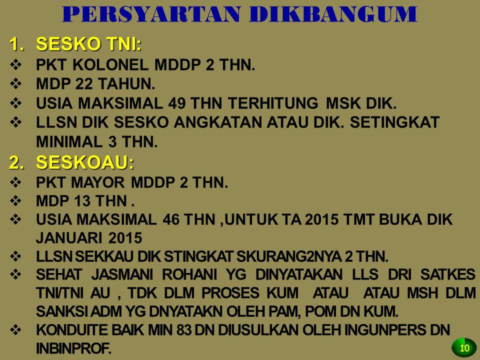 PERSYARTAN DIKBANGUM 1.SESKO TNI:  PKT KOLONEL MDDP 2 THN.  MDP 22 TAHUN.  USIA MAKSIMAL 49 THN TERHITUNG MSK DIK.  LLSN DIK SESKO ANGKATAN ATAU D