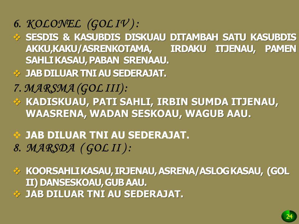 6.KOLONEL (GOL IV ) :  SESDIS & KASUBDIS DISKUAU DITAMBAH SATU KASUBDIS AKKU,KAKU/ASRENKOTAMA, IRDAKU ITJENAU, PAMEN SAHLI KASAU, PABAN SRENAAU.  JA