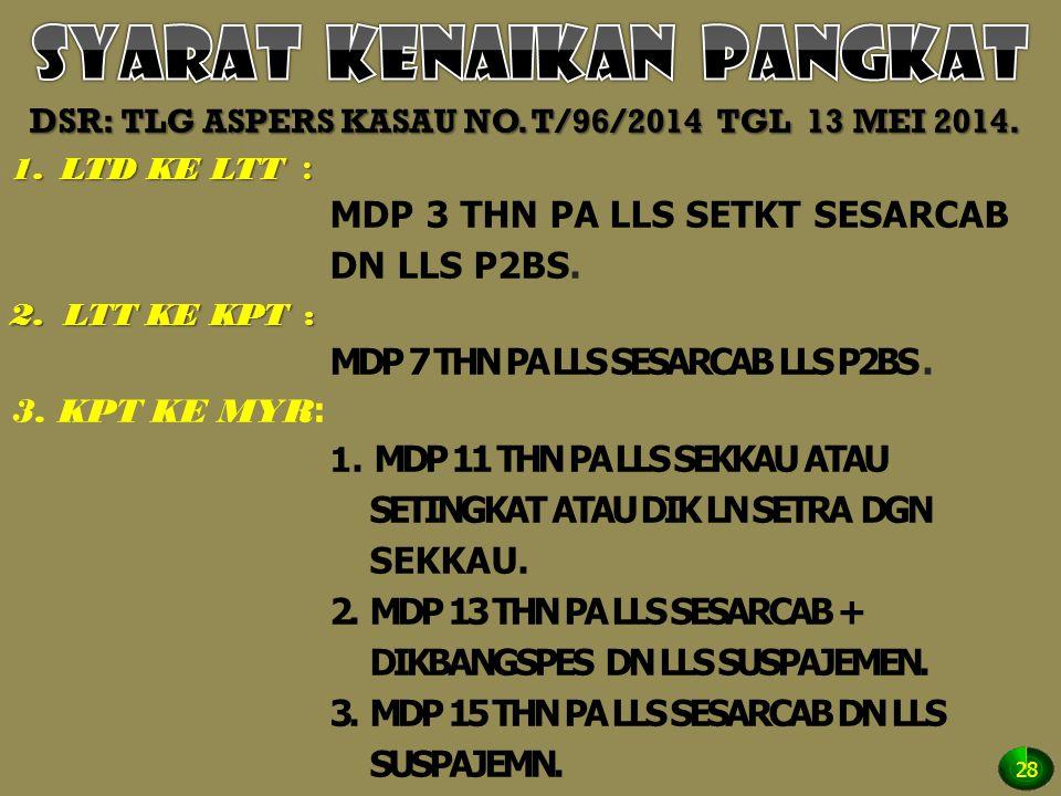 DSR: TLG ASPERS KASAU NO. T/96/2014 TGL 13 MEI 2014. 1.LTD KE LTT : MDP 3 THN PA LLS SETKT SESARCAB DN LLS P2BS. 2.LTT KE KPT: MDP 7 THN PA LLS SESARC