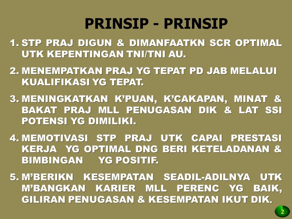 PRINSIP - PRINSIP 1.STP PRAJ DIGUN & DIMANFAATKN SCR OPTIMAL UTK KEPENTINGAN TNI/TNI AU. 2.MENEMPATKAN PRAJ YG TEPAT PD JAB MELALUI KUALIFIKASI YG TEP