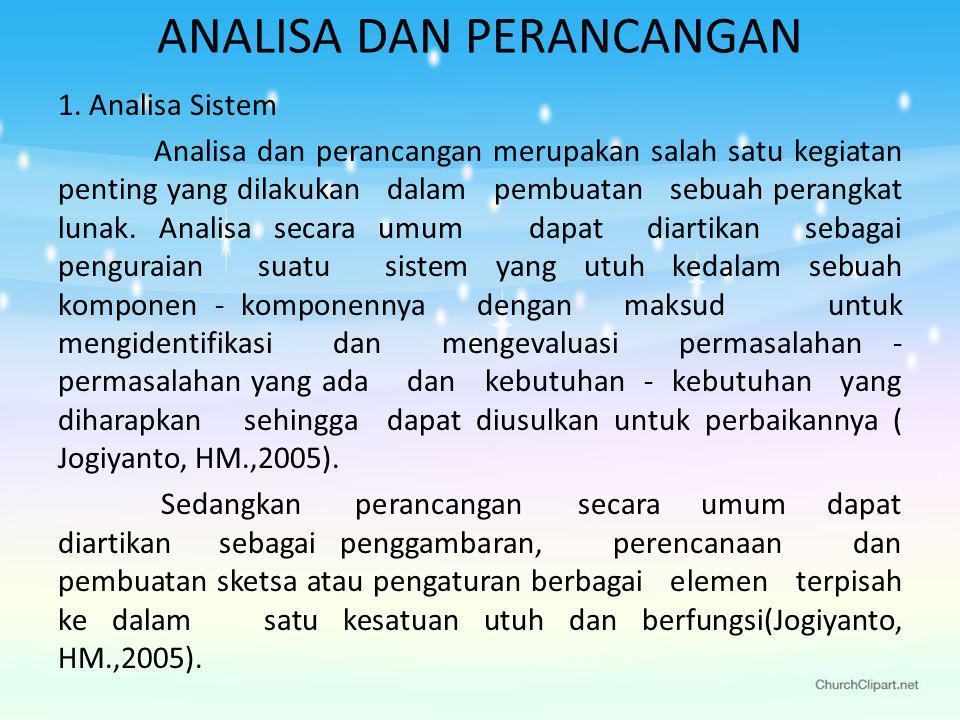 ANALISA DAN PERANCANGAN 1.