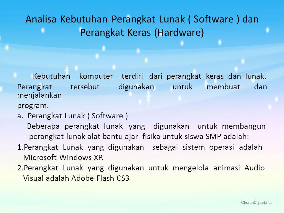 Analisa Kebutuhan Perangkat Lunak ( Software ) dan Perangkat Keras (Hardware) Kebutuhan komputer terdiri dari perangkat keras dan lunak.