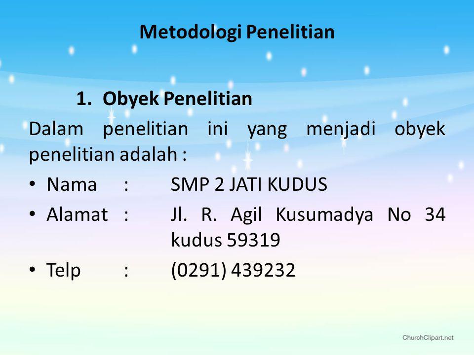 Metodologi Penelitian 1.Obyek Penelitian Dalam penelitian ini yang menjadi obyek penelitian adalah : Nama: SMP 2 JATI KUDUS Alamat: Jl.