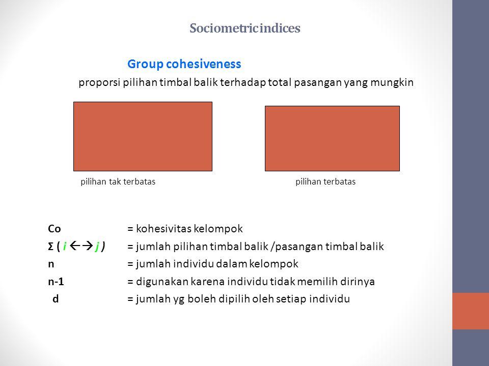 Sociometric indices Group cohesiveness proporsi pilihan timbal balik terhadap total pasangan yang mungkin Co = Σ ( i  j ) n ( n-1 ) dn/2 2 pilihan t