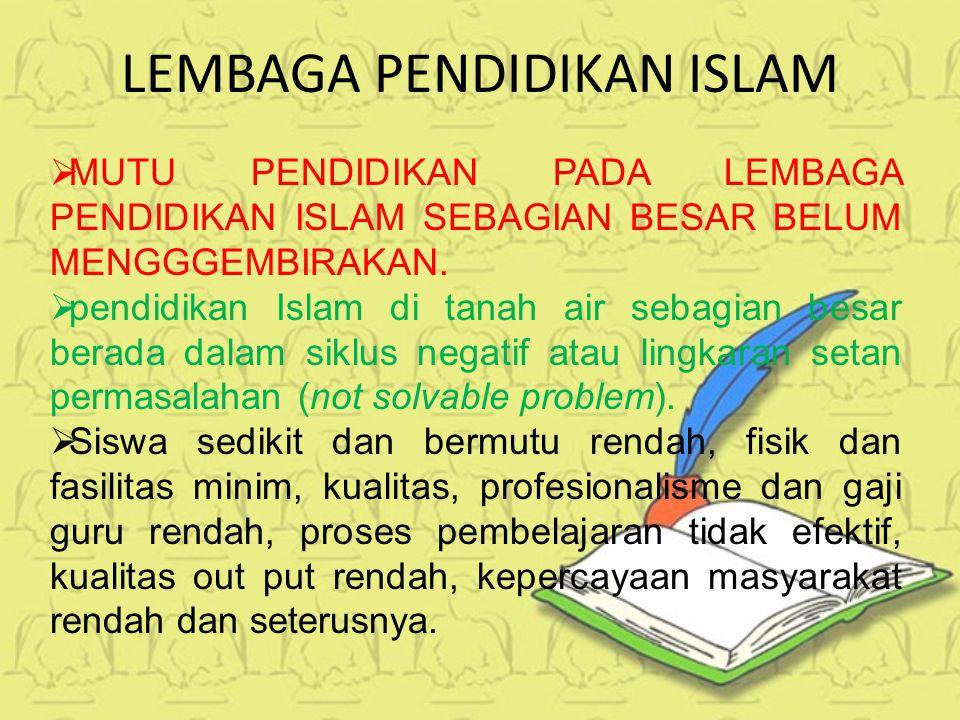 LEMBAGA PENDIDIKAN ISLAM MMUTU PENDIDIKAN PADA LEMBAGA PENDIDIKAN ISLAM SEBAGIAN BESAR BELUM MENGGGEMBIRAKAN.