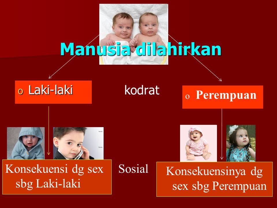 2 Sosial kodrat o Laki-laki o Perempuan Manusia dilahirkan Konsekuensinya dg sex sbg Perempuan Konsekuensi dg sex sbg Laki-laki