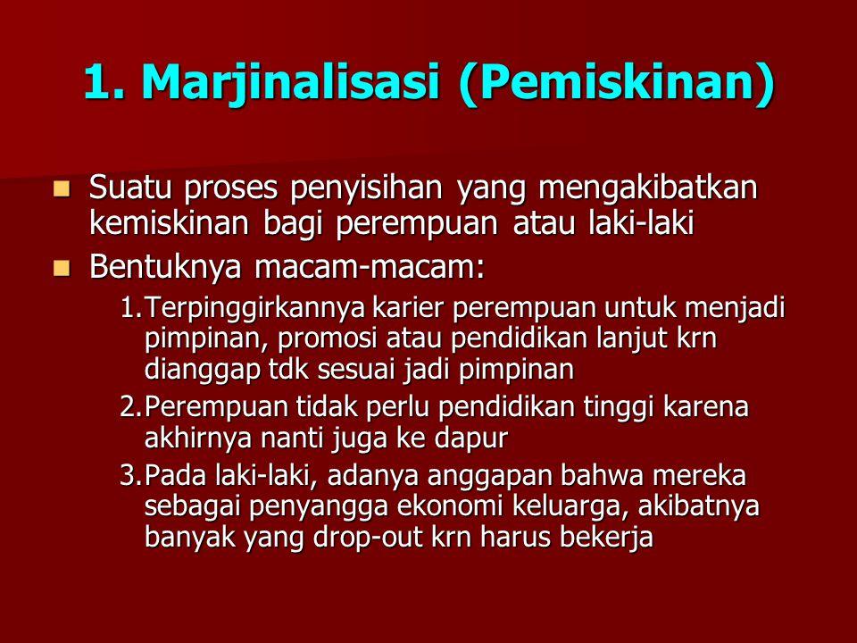 1. Marjinalisasi (Pemiskinan) Suatu proses penyisihan yang mengakibatkan kemiskinan bagi perempuan atau laki-laki Suatu proses penyisihan yang mengaki