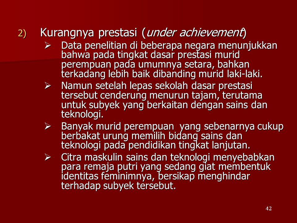 42 2) Kurangnya prestasi (under achievement)  Data penelitian di beberapa negara menunjukkan bahwa pada tingkat dasar prestasi murid perempuan pada u