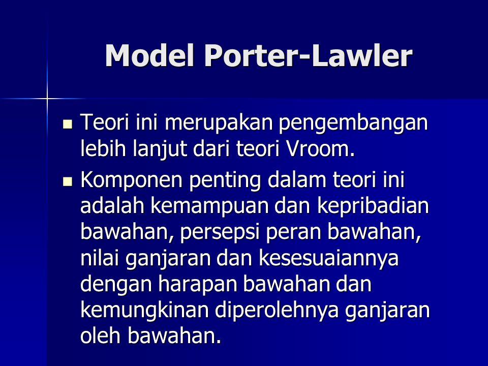 Model Porter-Lawler Teori ini merupakan pengembangan lebih lanjut dari teori Vroom. Teori ini merupakan pengembangan lebih lanjut dari teori Vroom. Ko