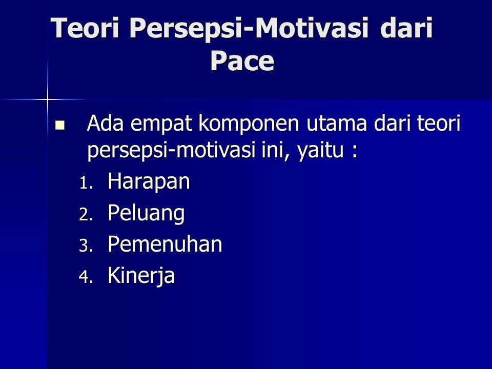 Teori Persepsi-Motivasi dari Pace Ada empat komponen utama dari teori persepsi-motivasi ini, yaitu : Ada empat komponen utama dari teori persepsi-moti