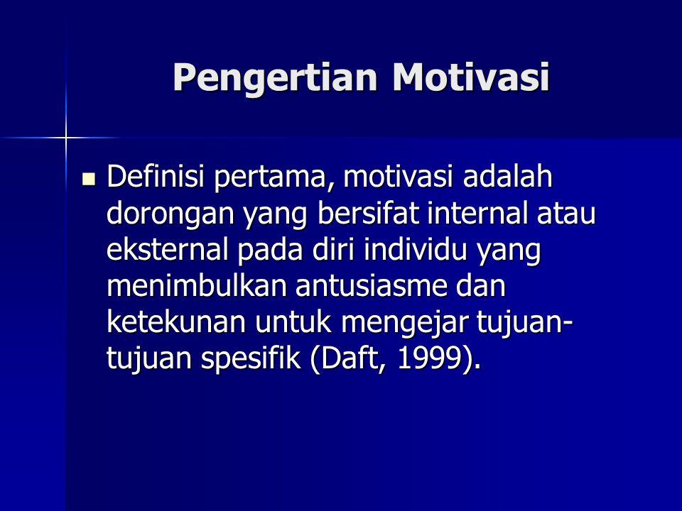Definisi kedua, motivasi diartikan sebagai sebuah proses yang dimulai dari adanya kekurangan baik secara fisiologis maupun psikologis yang memunculkan perilaku atau dorongan yang diarahkan untuk mencapai sebuah tujuan spesifik atau insentif (Luthans, 1995) Definisi kedua, motivasi diartikan sebagai sebuah proses yang dimulai dari adanya kekurangan baik secara fisiologis maupun psikologis yang memunculkan perilaku atau dorongan yang diarahkan untuk mencapai sebuah tujuan spesifik atau insentif (Luthans, 1995)