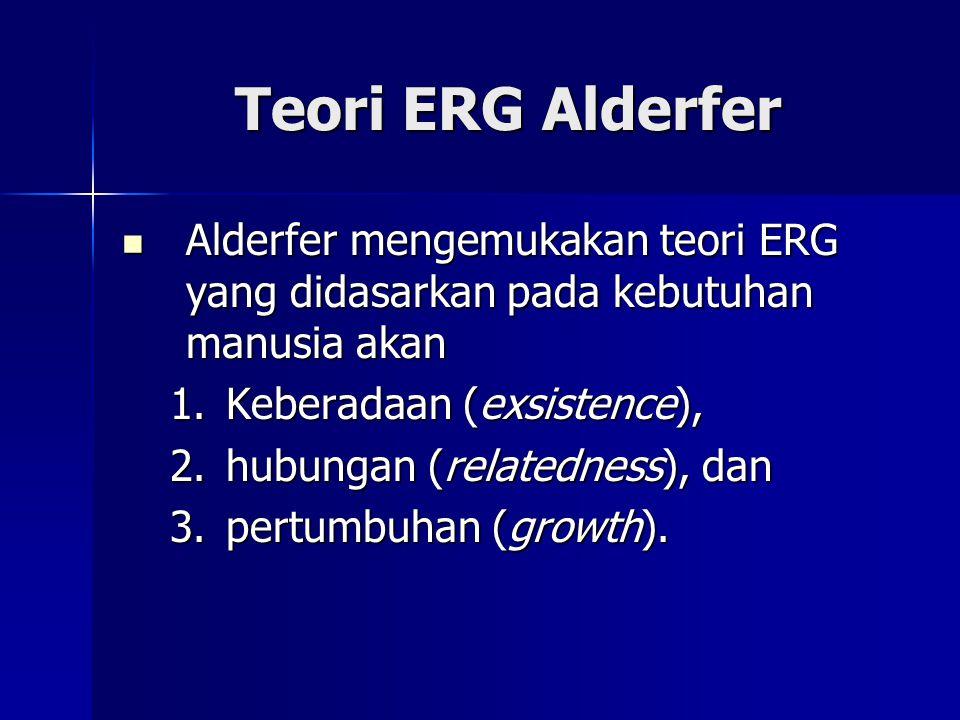 Teori ERG Alderfer Alderfer mengemukakan teori ERG yang didasarkan pada kebutuhan manusia akan Alderfer mengemukakan teori ERG yang didasarkan pada ke