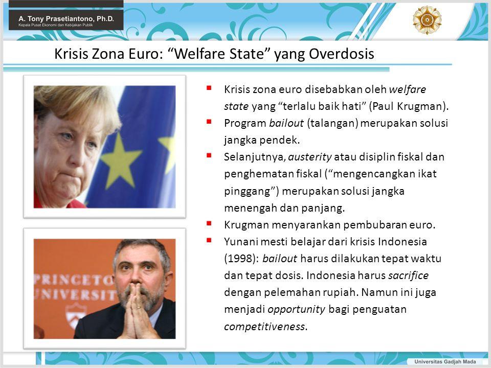 " Krisis zona euro disebabkan oleh welfare state yang ""terlalu baik hati"" (Paul Krugman).  Program bailout (talangan) merupakan solusi jangka pendek."