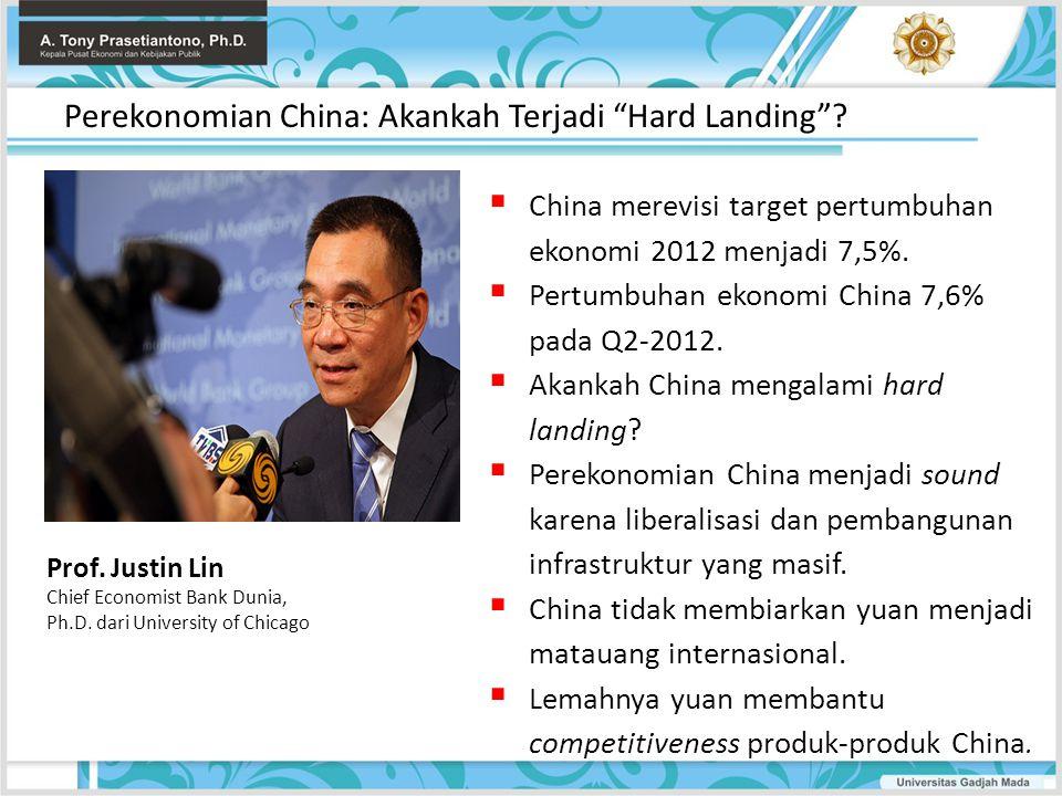  China merevisi target pertumbuhan ekonomi 2012 menjadi 7,5%.  Pertumbuhan ekonomi China 7,6% pada Q2-2012.  Akankah China mengalami hard landing?