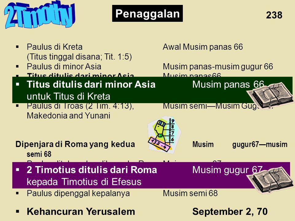  Bebas dari penjara Musim Semi 62—Musim Gugur 67  Paulus di Efesus dan Kolose Musim Semi—Musim Panas 62 (Timotius tinggal di Efesus)  Petrus pergi