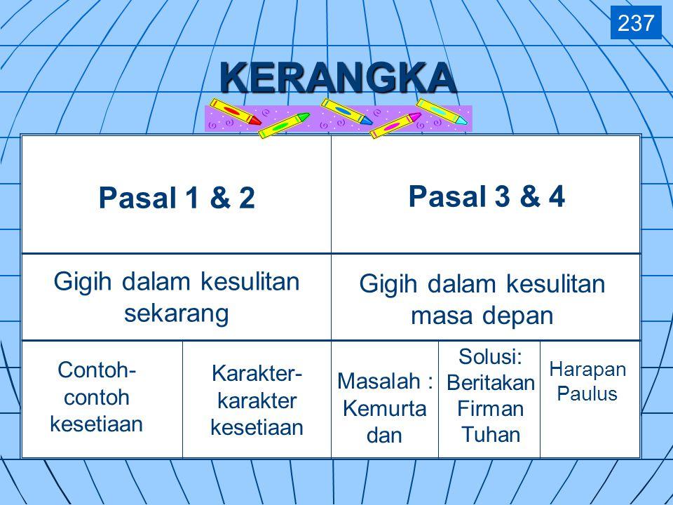 Synthesis 239 Perpaduan 3—4Gigih dalam kesulitan masa depan 1—2Gigih dalam kesulitan sekarang Doktrin yang benar melawan penentang