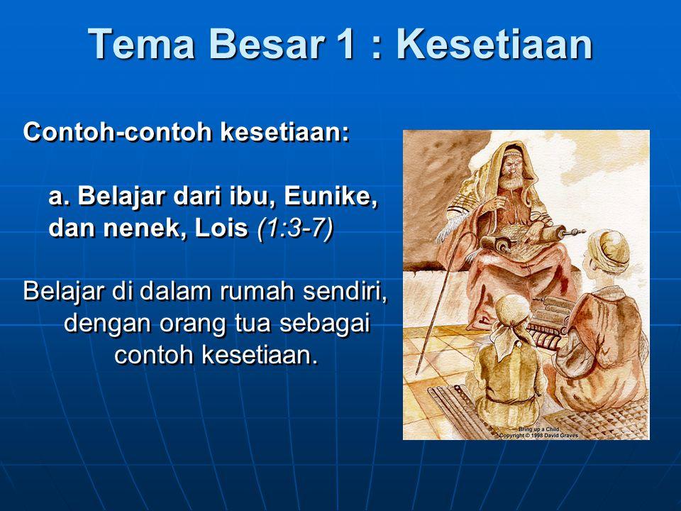 Tema Besar 1. Kesetiaan 2. Kemurtadan 3. Firman Tuhan 1. Kesetiaan 2. Kemurtadan 3. Firman Tuhan
