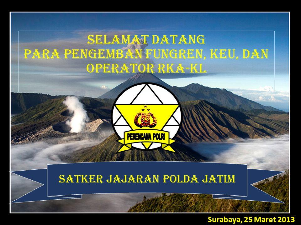 Surabaya, 25 Maret 2013 SATKER JAJARAN POLDA JATIM SELAMAT DATANG PARA PENGEMBAN FUNGREN, KEU, DAN OPERATOR RKA-KL
